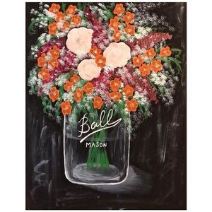 Mason Jar with Flowers Canvas Painting